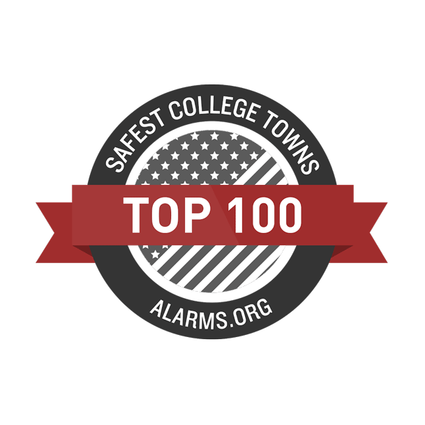Alarms.org top 100 Safest College Towns seal