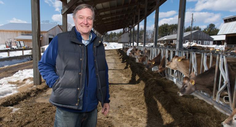 professor john aber in unh cow barn