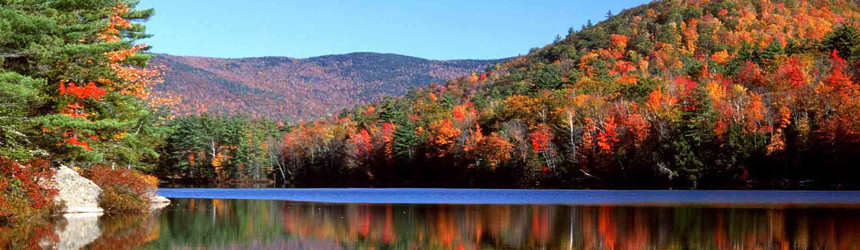 Scenic fall foliage with mountains and a lake